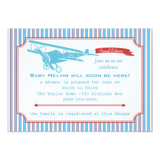 Special Delivery Vintage Airplane 5x7 Paper Invitation Card