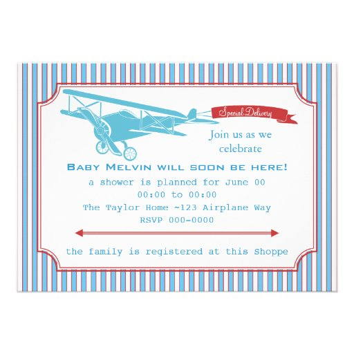 Special Delivery Vintage Airplane Announcement