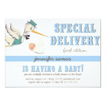 Special Delivery - Vintage Stork 5x7 Paper Invitation Card