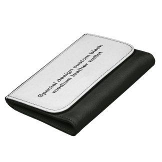Special design custom black leather wallet. women's wallet