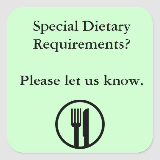 Special Dietary Requirements Square Sticker
