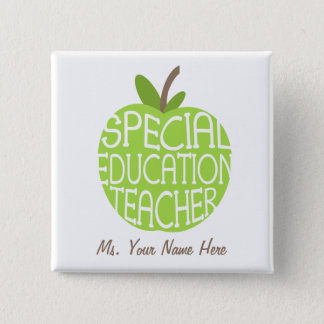 Special Education Teacher Green Apple Button