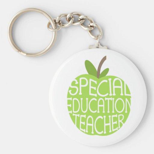 Special Education Teacher Green Apple Keychain