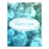 Special Event Elegant Silver Blue Star Bubbles Card