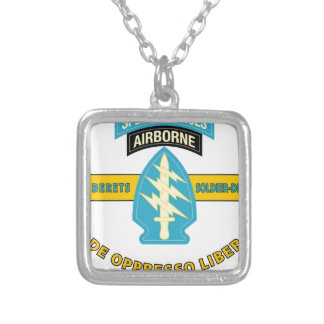 """SPECIAL FORCES AIRBORNE """"DE OPPRESSO LIBER"""" SILVER PLATED NECKLACE"""