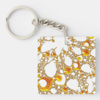 special fractal 04 orange Double-Sided square acrylic keychain