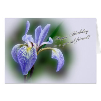 Special Friend Birthday  Blue Flag Iris Wildflower Card