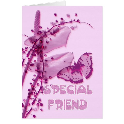 Special Friend Birthday card, pink with buttefly a