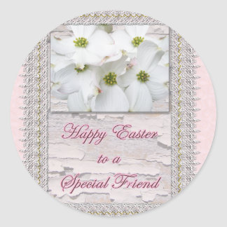 Special Friend Easter Flowering Dogwood Blossoms Classic Round Sticker