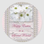 Special Friend Easter Flowering Dogwood Blossoms Round Sticker