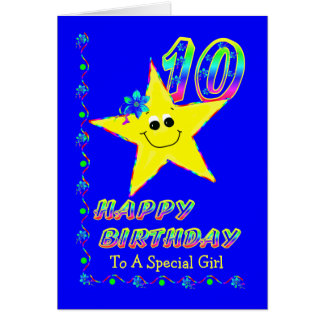 Special Girl 10th Brithday Stars Greeting Card