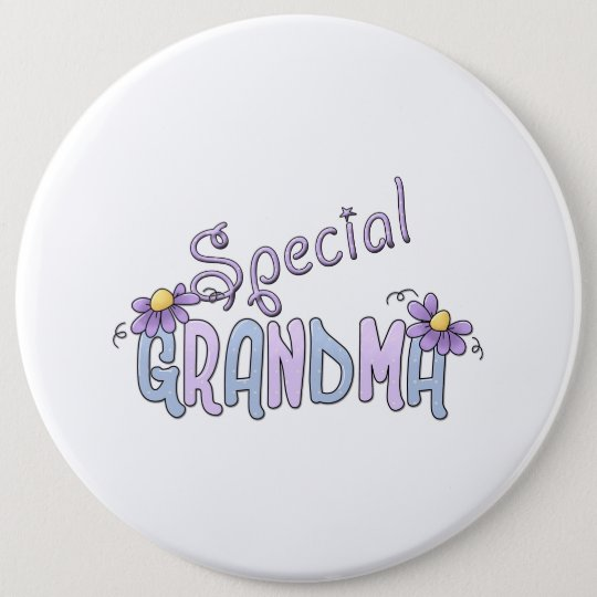 Special Grandma Flowers Pinback Button