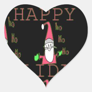 Special Happy Holidays Ho Ho Ho Ink Sketch Santa g Heart Sticker