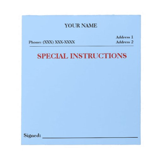 Special Instructions Slip Note Pad (Blue)