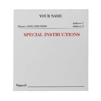 Special Instructions Slip Note Pad (Grey)