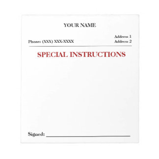 Special Instructions Slip Note Pad (White)