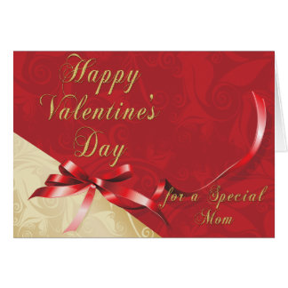 Special Mom Gold and Red Filigree Heart Valentine  Greeting Card