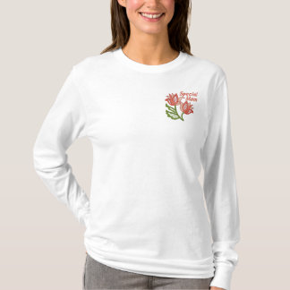Special Mom with Floral Openwork Embroidered Long Sleeve T-Shirt