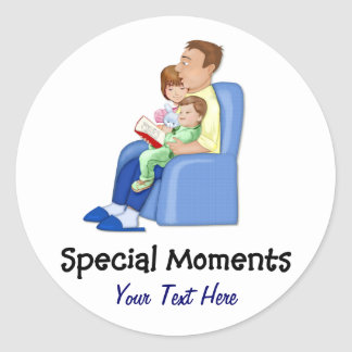Special Moments Dad and Kids Classic Round Sticker