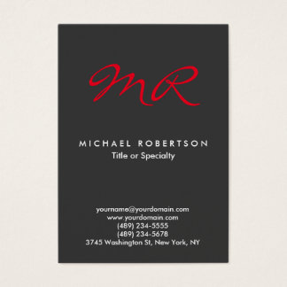 Special Monogram Grey Red Clean Business Card