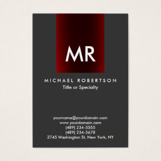 Special Monogram Grey Red Stripe Clean Business Card