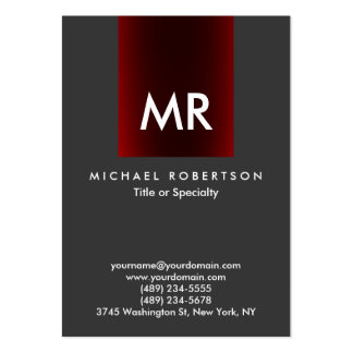 Special Monogram Grey Red Stripe Clean Large Business Card