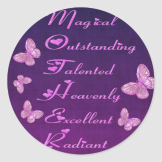 Special Mother Design with Butterflies Classic Round Sticker