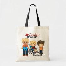 autism, tote, bag, children, education, school, daycare, special, needs, handicap, Bag with custom graphic design