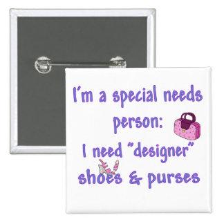 Special Needs - Designer Shoes & Purses Pinback Button