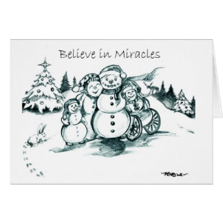 Special Needs Family of Four Snowman ChristmasCard Card