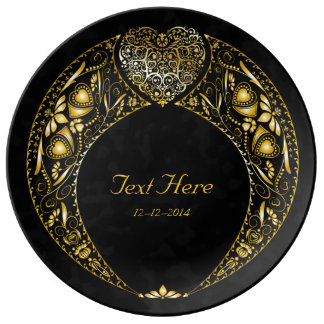 Special Occasion Gold Heart Wreath - Ceramic Plate
