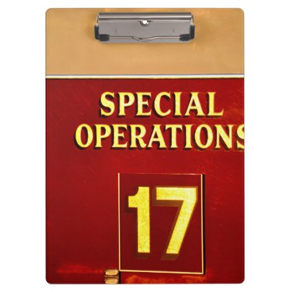 special operations firetruck 17 sign clipboard