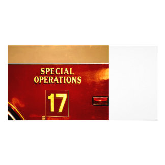 special operations firetruck 17 sign photo card