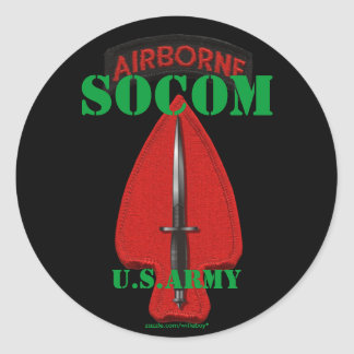 Special Ops USASOC PSYOP Veterans Vets Classic Round Sticker