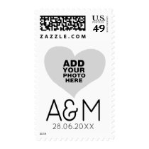 special photo on love heart with monogram postage