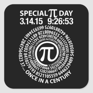 Special Pi Day 2015, Spiral Square Sticker
