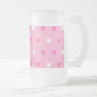 Special Pink Heart Pattern Frosted Glass Beer Mug