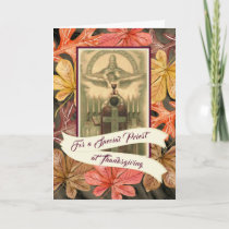 Special Priest Thanksgiving  Autumn Leaves Holiday Card