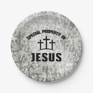 Special Property of Jesus on Christian Cross Camo Paper Plate
