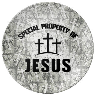 Special Property of Jesus on Christian Cross Camo Porcelain Plate