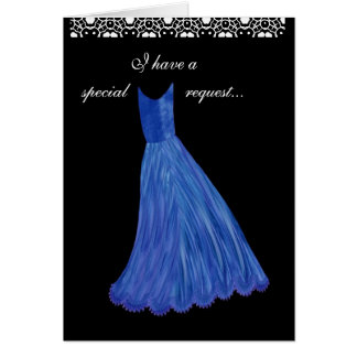 SPECIAL REQUEST - Wedding Invitation BLUE Gown Greeting Card