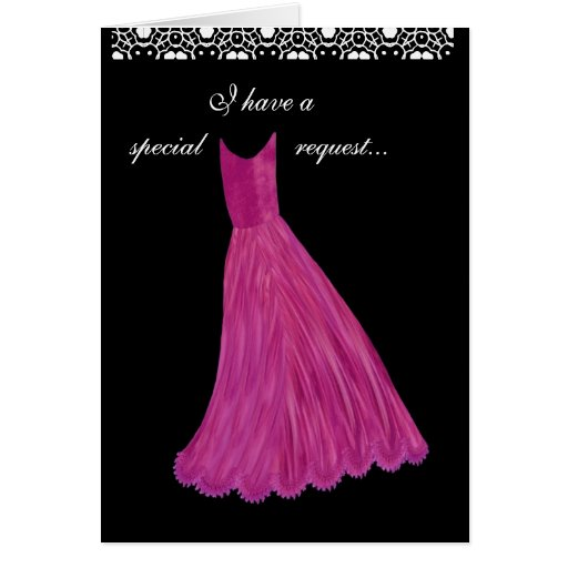 SPECIAL REQUEST - Wedding Invitation PINK Gown Greeting Card