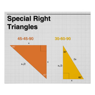 Special Right Triangles Math Poster