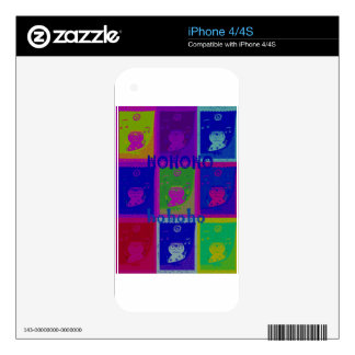Special  Santa HoHoho Pop Art colors Skins For iPhone 4S