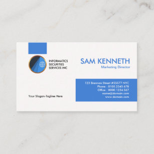 Special Simple Blue Tabs Marketing Manager Business Card