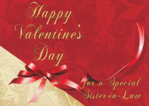 Special Sister-in-Law Gold and Red Filigree Heart  Holiday Card