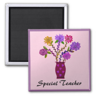 Special Teacher Flowers Magnets