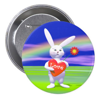 Special Valentine Bunny and Heart Pinback Button