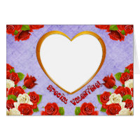 Special Valentine, Roses and Frame Add Photo Greeting Card