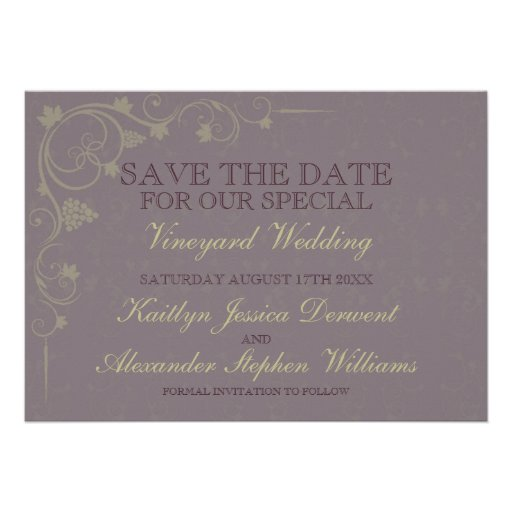 Special Vineyard Wedding Save The Date Announcements